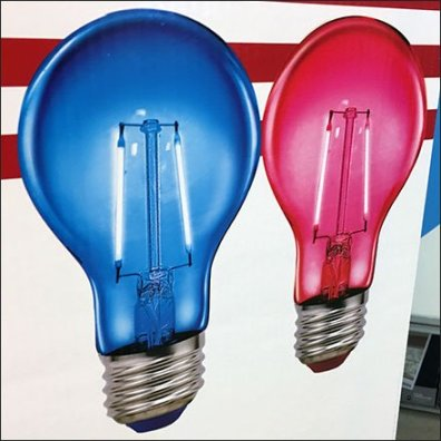 Red, White and Blue Light Bulb Display