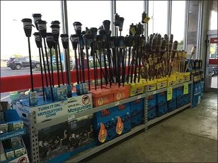 Tiki Torch Mass Merchandising At Store Entry