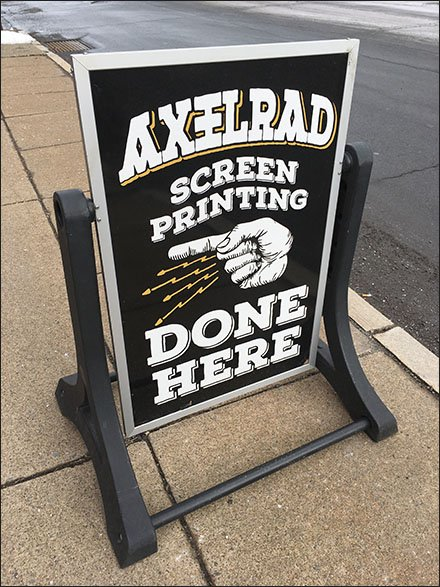 Axelrad Screen Printing Retail Fixtures - Axelrad Sidewalk Sign With Direction Index