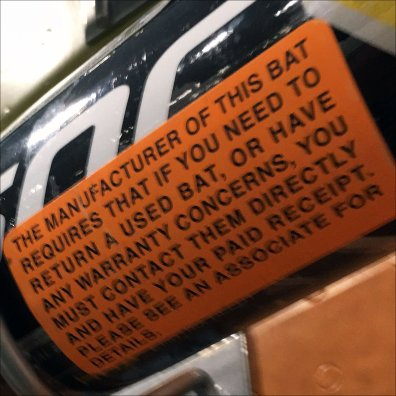 Baseball Bat Return Policy Warning Label