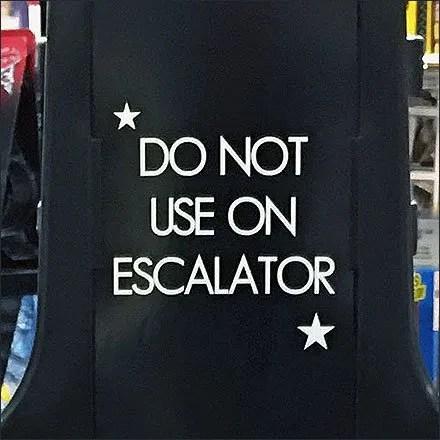 Do Not Use Shopping Basket On Escalator