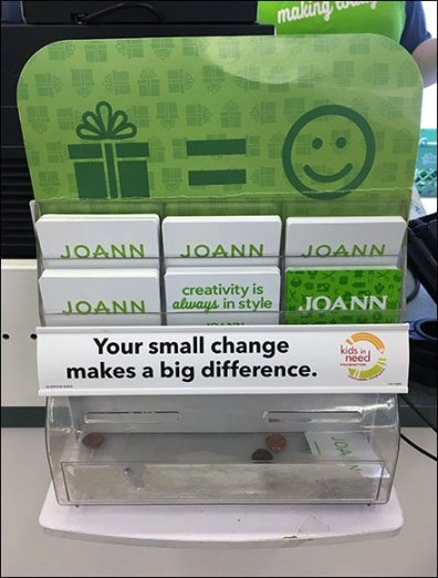 Gift Card Rack Includes Charity Pitch