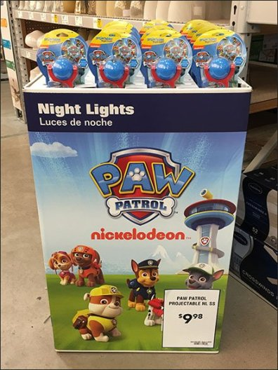 Nickelodeon Nightlight Paw Patrol Display