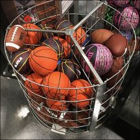 Circular Ball Bulk Bin With Wire Dividers