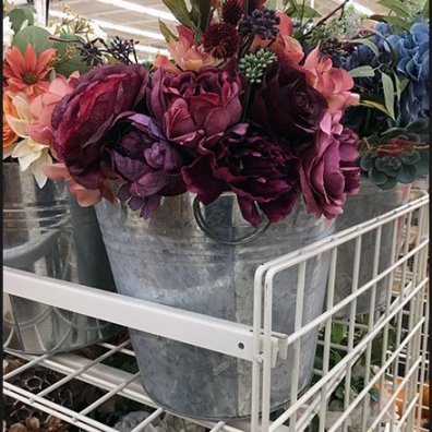 Galvanized Bucket Fall Floral Display