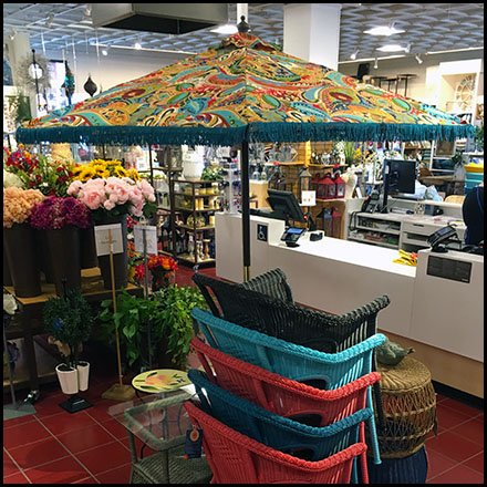 patio umbrella in store space frame