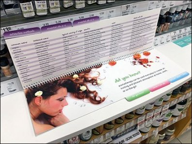 Spiral Bound Aromatherapy Guide At Shelf Edge