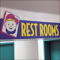 Toy Store Restroom Sign As Destination