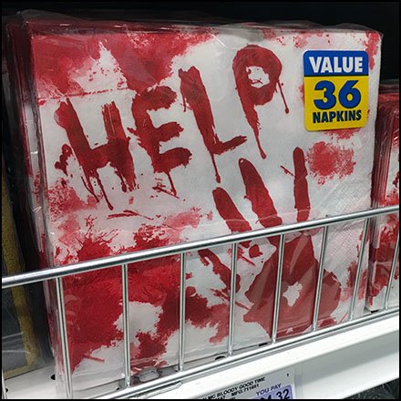 Shelf Fencing And Dividers in Retail - Bloody Halloween Help Napkin Front Fencing