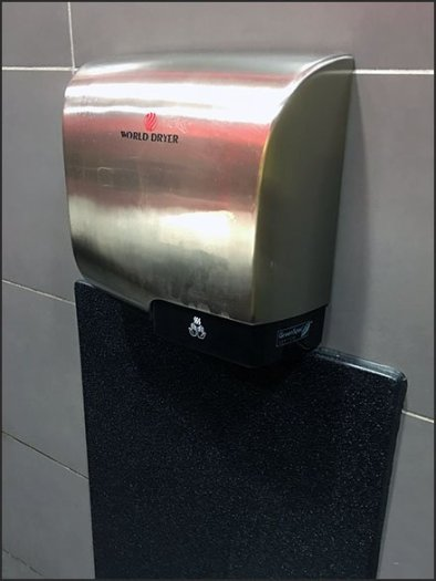 Restroom Hand Dryer Backsplash Upgrade