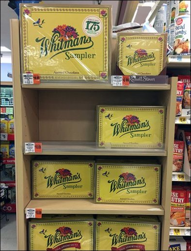 Whitman's vs Russel Stover Candy Fixture Branding