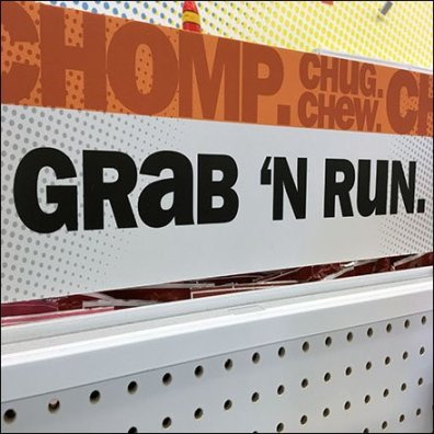 Grab 'N Run Chomp Chug Chew Sign