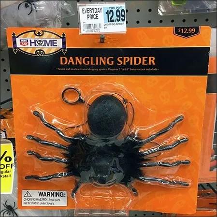 Halloween Spider Dangling on Flip Front Hook