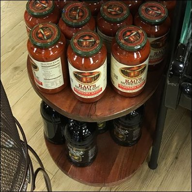 Round-End Side Table For Tomato Merchandising