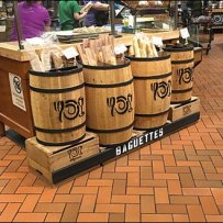 Bank of Baguette Wooden Barrel Merchandising