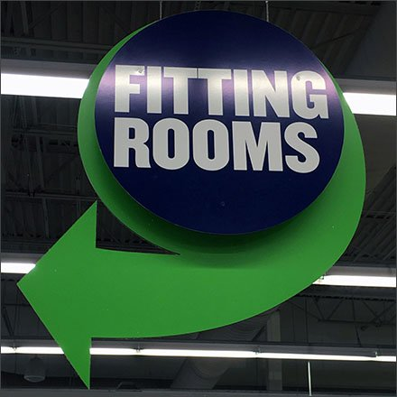 Ceiling Hung Fitting Room Directional Sign Feature