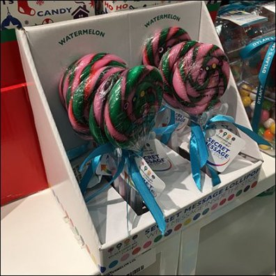 Dylan's Candy Bar Secret Message Lollipop Feature