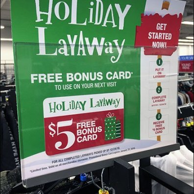 Holiday Layaway Bonus Card Instructions