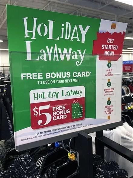Holiday Layaway Bonus Card Instructions