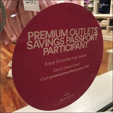 Premium Outlets Savings Passport Invitation Feature
