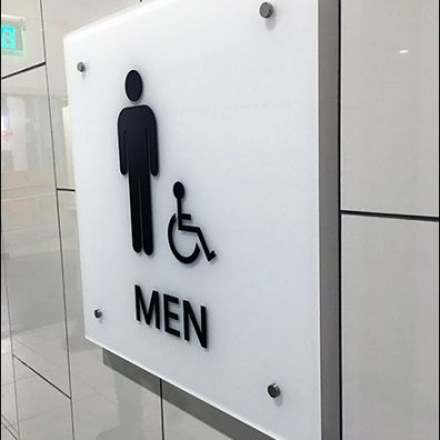 Luxe Restroom Sign Features Standoffs