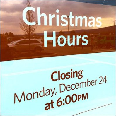Christmas Hours Storefront Window Announcement Feature