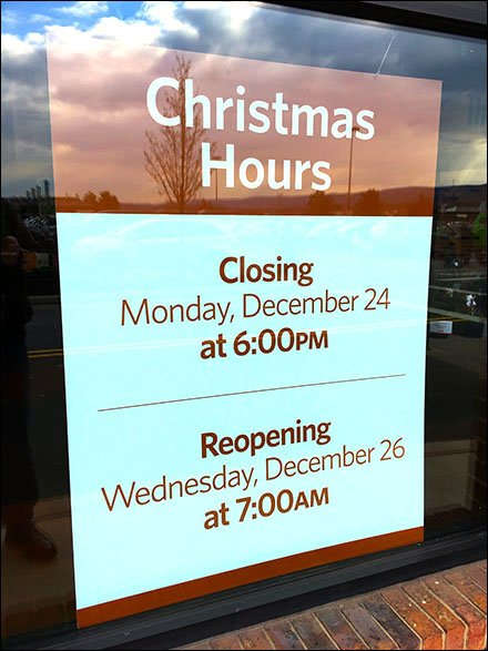 Christmas Hours Storefront Window Announcement