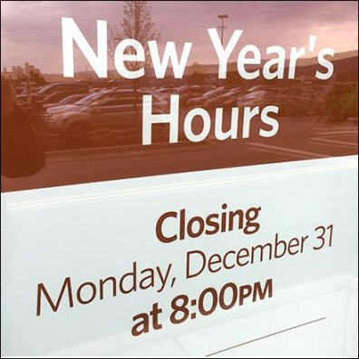 New Year's Hours Storefront Window Announcement Feature