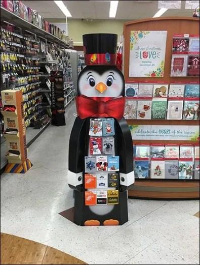 Christmas Gift Card Penguin Display