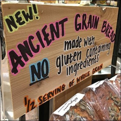 Ancient Grain Bread Gluten Sign Board
