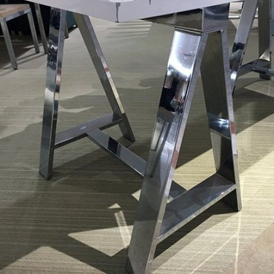Chrome Sawhorse Ugg Table-Top Display