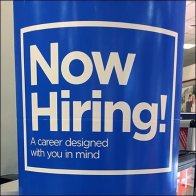 Freestanding Now Hiring Notice at Service Counter Feature