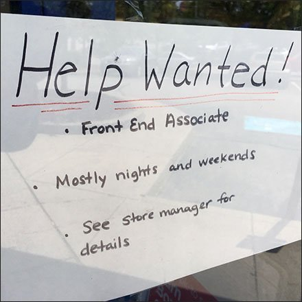 Hand-Witten Help Wanted Immediately Notice Feature