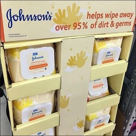 Johnson's Baby Wipes Corrugated Floor Display