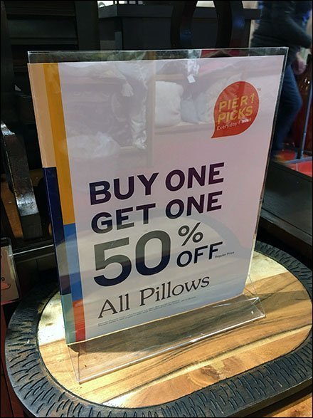 Buy One Get One Pillow Table-Top Sign