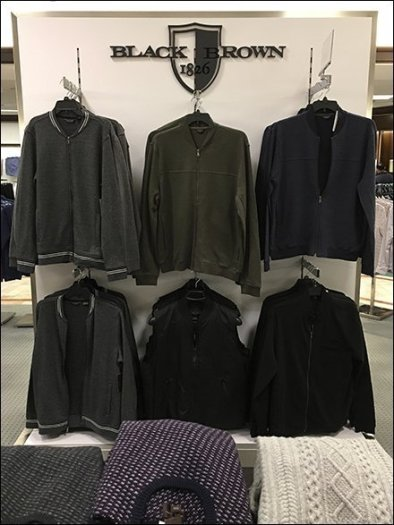 Black and Brown Branded Apparel Display