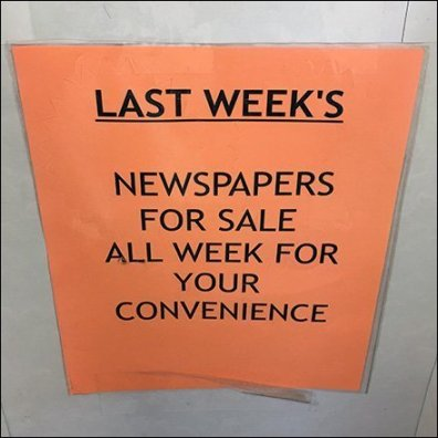 Corrugated Newsstand For Last Week's Newspapers Feature