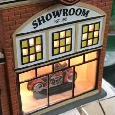 American Candle Shoppes Harley Davidson Miniature Village Dealer Showroom Feature