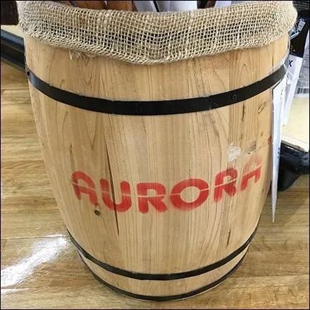 Aurora Branded Barrel Bulk Bin Display