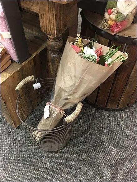 Faux Floral Bouquet Wire Basket Presentation