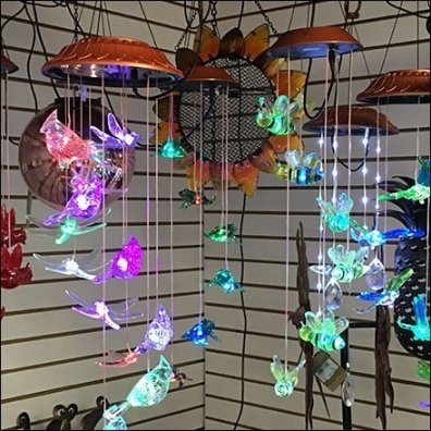 Lighted Wind Chime In-Store Pergola Display Aux