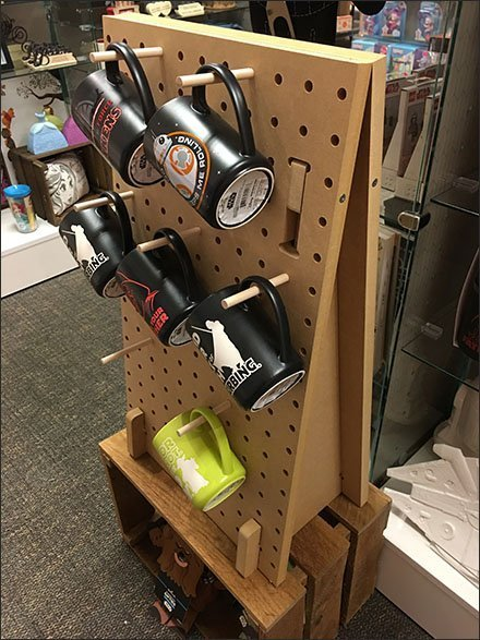 Wood Peg Pegboard Freestanding Mug Display