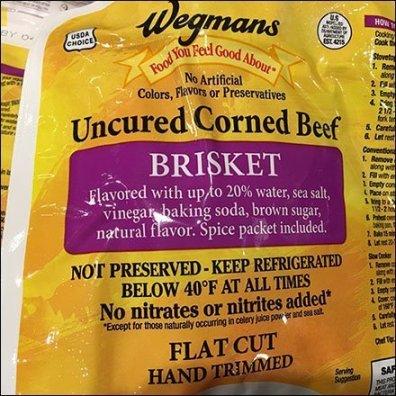 Wegmans Uncured Corned Beef Brisket Square