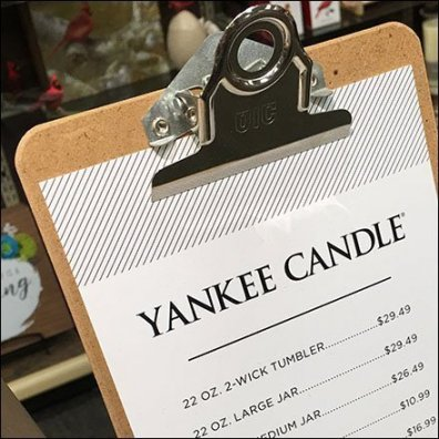 Yankee Candle Clipboard Pricelist at Hallmark