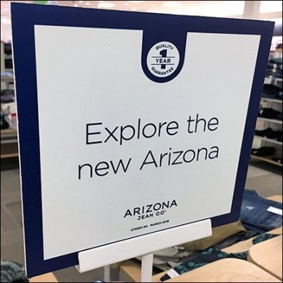 Explore New Arizona Jeans Table-Top Sign
