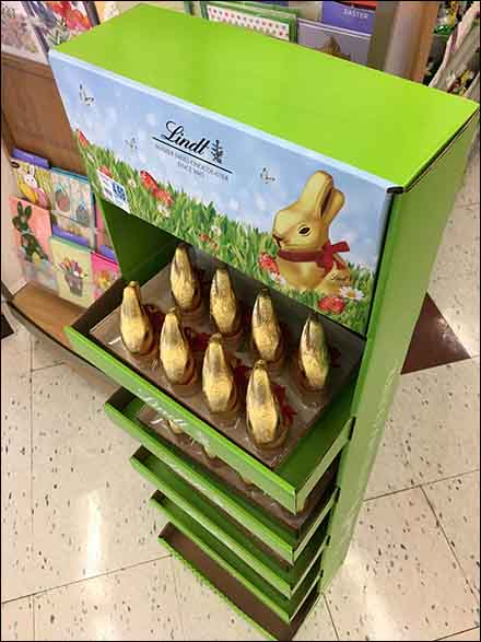 Gold Foil Easter Bunny Lindt Chocolate Display