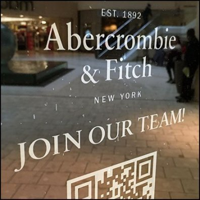 Abercrombie & Fitch Hiring QR Code Cling