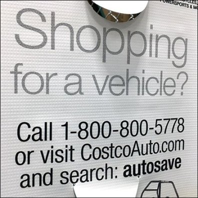 Costco Vehicle Shopping Sign Stand