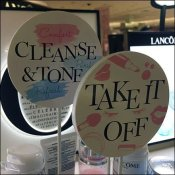 Lancome Cleanse-and-Tone Lollipop Signs