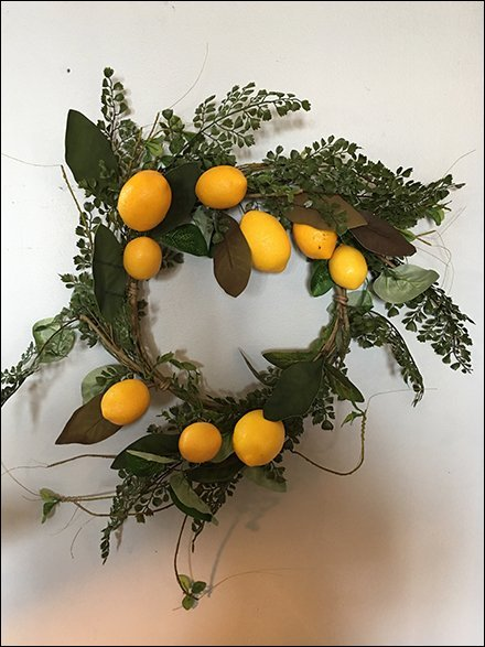 Bright Yellow Lemon Wreath Merchandising